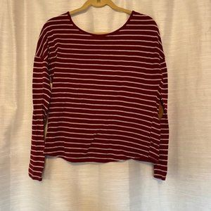 Blu Pepper large maroon and white striped sweater